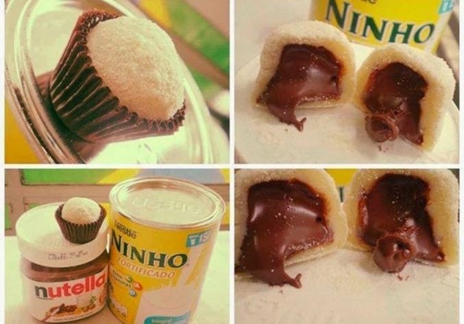Bombom de leite ninho com recheio de Nutella