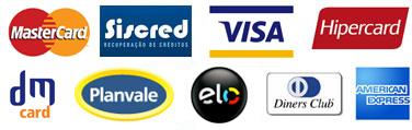 Cartões aceitos: Visa, Diners Club International, Mastercard e Rede Shop Débito